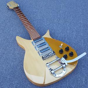 Custom 1996 RICK 325V59 JOHN LENNON Birdseye Maple Guitarra eléctrica natural Longitud de escala corta Bigs Pieza posterior Chrome Hardware Oro Pickguard