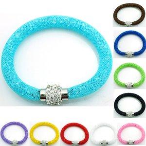 Toptan Yeni Charm Bilezikler 10 Renk Kristal Mesh Manyetik Toka Infinity Link BraceletsBangles Takı Mix Sipariş