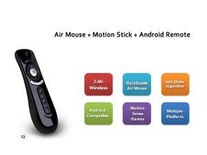 جيروسكوب يطير الهواء ماوس T2 2.4 جرام اللاسلكية لوحة المفاتيح الروبوت التحكم عن بعد 3d معنى الحركة عصا ل صندوق التلفزيون الذكية