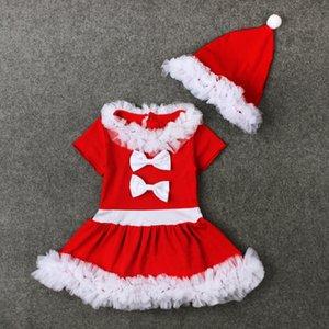 INS Sıcak satış Avrupa ve Amerika stilleri Yeni Varış Kız Dantel Noel prenses tutu elbise + şapka kız çocuklar rahat elbise
