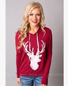 T-shirt à manches longues à manches longues pour femmes Deer Imprimé à capuche pour femmes Auntumn Printemps Et Hiver