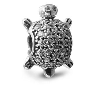 Fascino d'argento di tartaruga marina con Clear CZ Branelli d'argento sterling 100% 925 Fit Pandora Charms Bracciale autentico gioielli moda fai-da-te