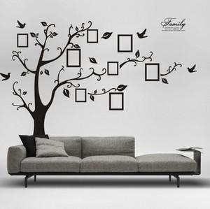 Frete Grátis: Grande 200 * 250 Cm / 90 * 120in Preto 3D DIY Foto Árvore PVC Decalques De Parede / Família Adesivo de Parede Adesivos Mural Art Home Decoration