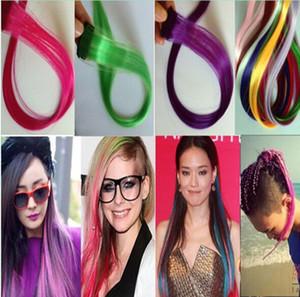 """Neue 20 """"gerade farbiger bunter Klipp-in Klipp an in zufälliger Farbe der Haar-Verlängerungsfrauen purpurroter roter heißer Verkauf"""