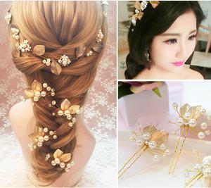 حفل زفاف رومانسي دبوس الذهب ورقة الشعر قطعة رأس قطعة اللؤلؤ + سبيكة لون الذهب