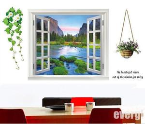 Toptan Satış - Toptan-Yeni Büyük 3D Valley Window View Wall Art Etiketler Vinil Çıkartması Home Decor Mural