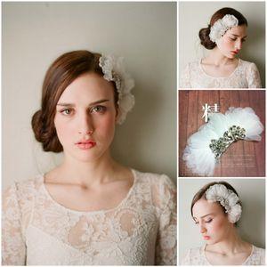 2017 branco flor de organza acessórios para o cabelo com pente cristais nupcial headpieces mulheres bonitas acessórios do partido frete grátis cpa098