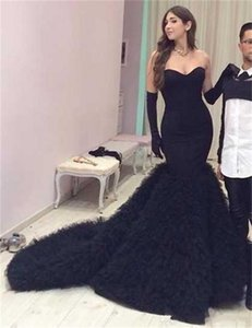 Formal Mermaid Engagement Dresses Sexy Black Evening Dresses 2017 Strapless Long Pageant Gowns Custom Made Women Prom Dress