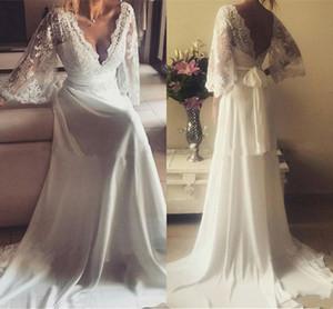 Vestidos de boda del país de la gasa del cordón del estilo griego con las mangas 2018 Vestidos de boda del cuello en v de la vendimia bohemia más floja del tamaño extra grande
