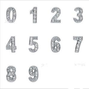 Strass argento placcato numero 0-9 lega galleggiante Charms Fit per vetro Locket DIY Jewelrys 100PCS / lotto