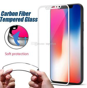 Couverture complète en verre trempé 3D courbe douce bord jante Conception en fibre de carbone Proctor plein écran pour Iphone X 8 7 5 Aucun paquet