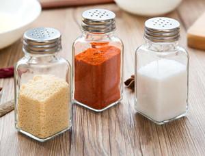 Nueva Glass Sugar Salt Pepper Shaker con tapa de acero inoxidable Severing Tools Cruet Condiment Jar Herb Spice Storage