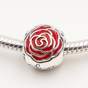 925 Sterling Silver European Enamel Rose Charm Bracelets Enchanted Red & Necklaces Belles Pandora Jewelry Bead With Fits Lthqc