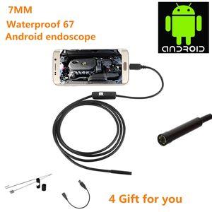 câmeras mini-USB Waterproof Inspeção 7 milímetros de 6 LEDs HD de 1.3MP Android endoscópio IP67 Com 1M 1.5M 2M Cabo videoboroscópio Camera