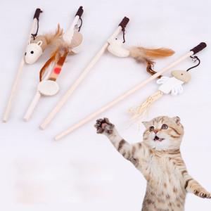 Gato Brinquedos Interativos Com Sinos De Madeira Engraçada Vara Dangle Rato Bola com Pena Animais De Estimação Jogar Brinquedos