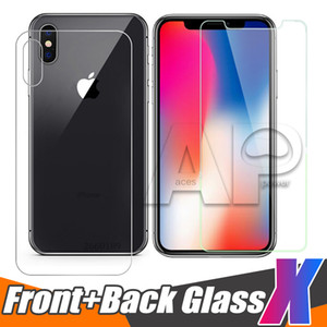 패키지와 투명 전면 및 후면 후면 강화 유리를위한 새로운 아이폰 XR XS MAX X 10 (8) 플러스 화면 보호기 보호 필름