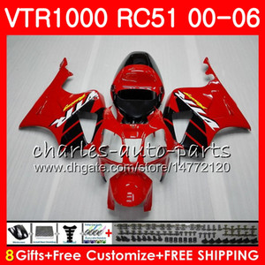 Corpo per HONDA VTR1000 RC51 SP1 SP2 00 01 02 03 04 05 06 92HM2 TOP Rosso nero RTV1000 VTR 1000 00 2000 2001 2002 2003 2004 2005 2006 Carena