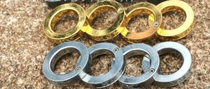 ساخنة جديدة الذهب أو الفضة خاتم الدفاع عن النفس الفولاذ المقاوم للصدأ حلقة حلقة واحدة تتكشف في أربع حلقات الدفاع الدائري