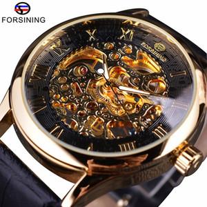 Forsining Retro Design classico Numero romano Display trasparente Cassa meccanica Scheletro Orologio da uomo Guarda Top Brand Luxury Clcok