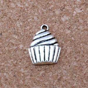 MIC. 100 pçs / lote liga de prata antigo single-sided cupcake sobremesa bolo de alimentos encantos pingente de 14.5x20mm jóias diy a-127