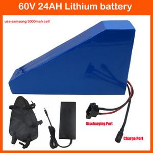 Wiederaufladbare 1800W 60V Triangle Batterie 60V 24AH Lithium-Batterie 60V E-Bike Akku Verwenden Sie Samsung 3000mAh Zelle 30A BMS 2A Ladegerät