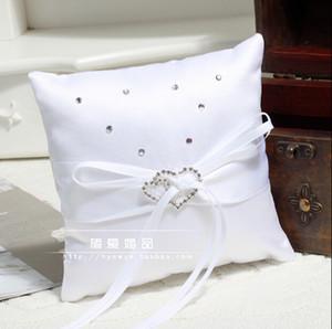 Cinta de diamantes de imitación blanco Crystal Hear Style Ring Pillows Romántica boda nupcial y novio almohadas para anillo