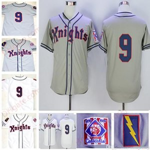 Herren New York Knights # 9 Roy Hobbs Grau Weiß Der natürliche Film Bernard Malamud genäht Der Film 1839-1939 Centennial Baseball Jersey 4XL
