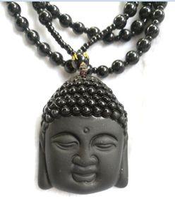 Buddha Pendant Necklace Fashion Jewelry Fine Men Obsidian For Natural Women Vintage Black Ruyi Jade Ornaments A1 Plnvs