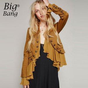All'ingrosso-Romantico giacca Falbala doppio petto pulsante giacche donna autunno 2016 patchwork patchwork asimmetrico vintage cappotto M16110305