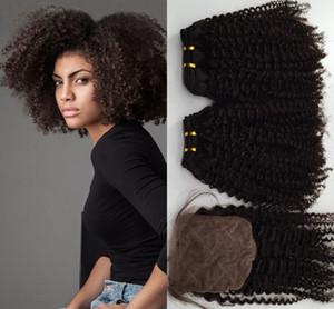 Afro Kinky Curly 4 * 4 Cierre de Seda con 2 Unids Cabello Brasileño de Color Natural Pelo Humano Barato Virginal Paquetes de Pelo Con Cierre 3 Unids / lote