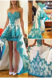 2020 Modest High Low Prom Dresses Sweetheart Turquoise Appliques Short A Line Real Image Evening Party Women Occasion Gowns Vestidos