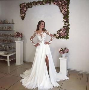Illusion romantique manches longues robes de mariée Split Summer Bohème New Sheer Appliqued longues robes de mariée Plus Size robe de maternité