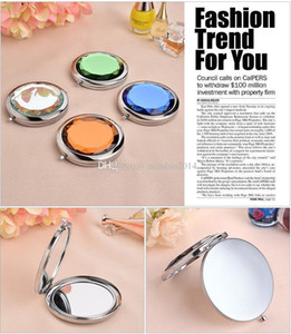 50pcs Mixed Colors Cosmetic Pocket Compact Stainless Makeup Mirrors Travel Must Fashion Cute Design Logo Print DHL FEDEX fast Shipping