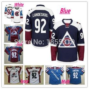 Presa di fabbrica, 2016 Nuovo stadio Serie Colorado Avalanche Hockey Maglie Gabriel Landeskog Jersey # 92 Nuovo Bianco Blu Rosso Migliore cucita C Pa