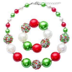 Праздник Рождество красный зеленый белый коренастый Ожерелье для девочки