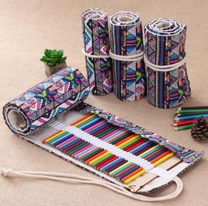 Retro Canvas Roll Up Titular Maquiagem Lápis Pen Case Bag Wrap Cortina Esboço
