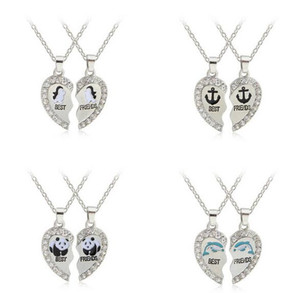5SET lot 2Parts Crystal Broken Heart Alloy Necklace Best Friends Pendant Fashion Jewelrys Fit For Holiday Day Gift