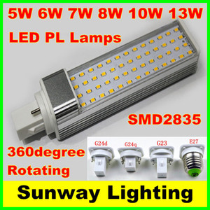 SMD 2835 LED 수평 플러그 램프 E27 G23 G24 G24q G24d LED 옥수수 전구 5W 7W 9W 10W 12W 아래로 조명 AC85-265V