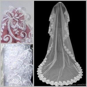 2019 Long Wedding Veil Exquisite Cheap Bridal Veil One Layer Lace Edge Cathedral Length Beads Bridal Veil Wedding dresses Accessories