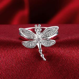 Luxuxneue heiße Verkauf 925 Sterlingsilber-Art- und Weisecharme Retro schöner Schmetterlings-Ring-nette hübsche Frauen-Kristallstein-Ehering-Schmucksachen