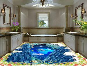 wallpaper per bagni 3D subacqueo piano mondo pavimenti in vinile da bagno del PVC