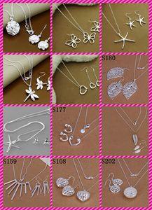 12 stili 925 orecchini in argento sterling + collana set di gioielli