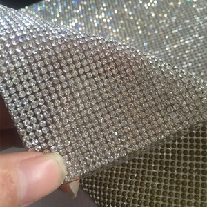 Free ship!2mm super close Clear Crystal Rhinestone Beaded Trim Diamond Mesh Hotfix or self ADHESIVE roll strass Applique Banding for Decorat