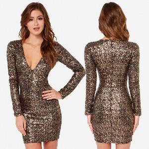 Moda Altın Vücut Con Pullu 90 s Kulübü Elbise Düğün Etek Elbise Uzun kollu Artı boyutu 2XL Elbiseler