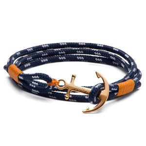 Известный бренд Том надежды 4 размера ручной работы желтой нить цепь браслет из нержавеющей стали золотого якорь очаровывает браслет с коробкой и биркой TH14