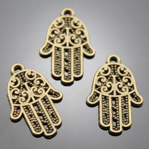 200pcs / lot 21 * 14mm bronze antique hamsa charme de la main bricolage pour la main