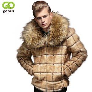 Atacado- Brasão GOPLUS New Inverno Homens da pele do falso Masculino Fur Vire-down Collar Moda Mens Coats Fake Fur Collar Casaco de Pele