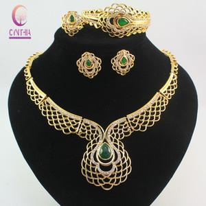 Frauen 18 Karat Gold Überzogene Österreichische Kristall Smaragd Blume Ethiopian Fine Jewelry Sets Mode Afrikanische Halskette Hochzeit Braut Set