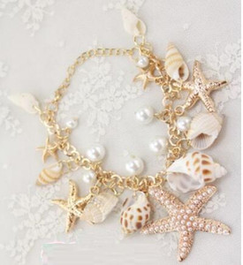 Vintage Fashion Ocean Sea Star Starfish Conch Shell Pearl Hand Chain Bracelets Gold Plated Bracelet Women Jewelry