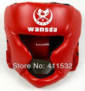 Envío gratis ROJO / NEGRO / azul oscuro Cerrado protector de cabeza de boxeo / Sparring casco / MMA / Muay Thai kickboxing / Protección de la cabeza HE-29